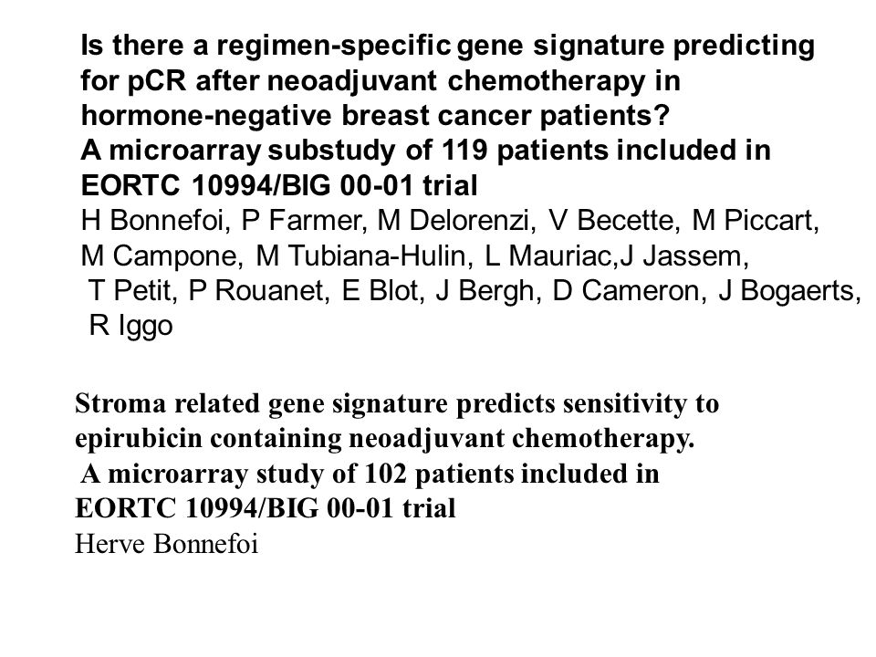 Is there a regimen-specific gene signature predicting for pCR after neoadjuvant chemotherapy in hormone-negative breast cancer patients? A microarray