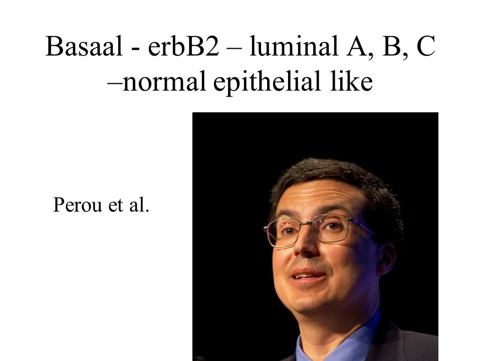 Basaal - erbB2 – luminal A, B, C –normal epithelial like Perou et al.