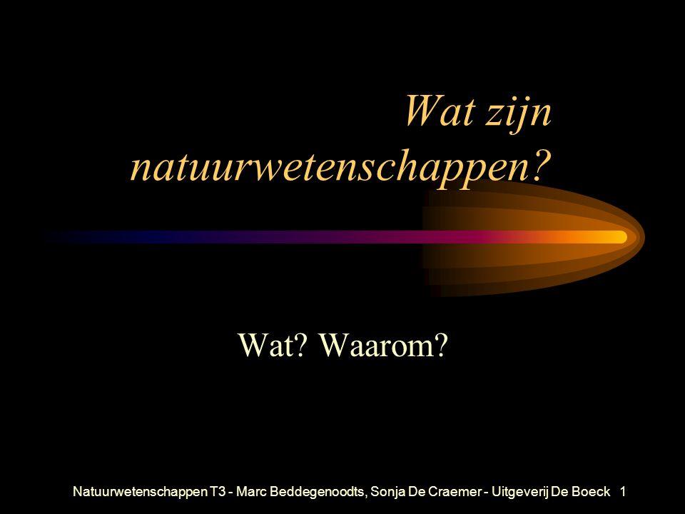 Natuurwetenschappen T3 - Marc Beddegenoodts, Sonja De Craemer - Uitgeverij De Boeck1 Wat zijn natuurwetenschappen? Wat? Waarom?