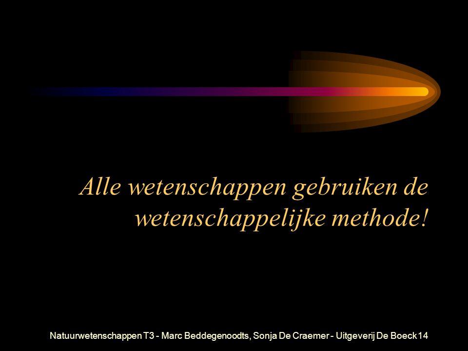 Natuurwetenschappen T3 - Marc Beddegenoodts, Sonja De Craemer - Uitgeverij De Boeck14 Alle wetenschappen gebruiken de wetenschappelijke methode!