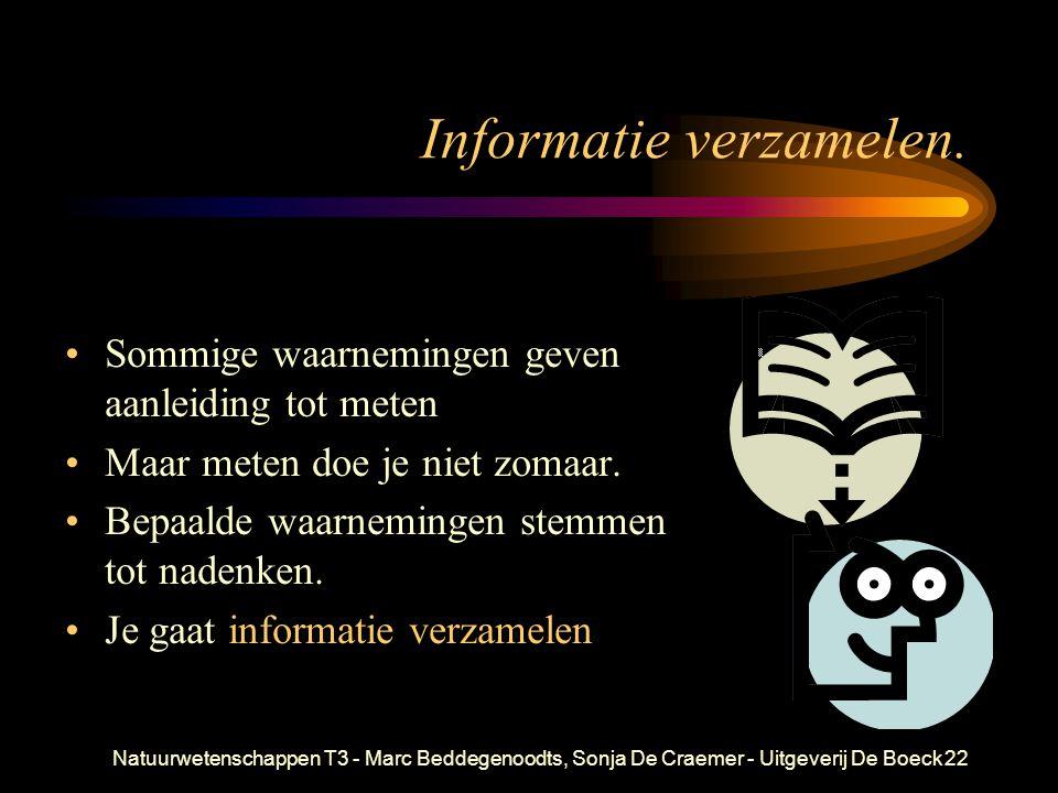 Natuurwetenschappen T3 - Marc Beddegenoodts, Sonja De Craemer - Uitgeverij De Boeck22 Informatie verzamelen. Sommige waarnemingen geven aanleiding tot