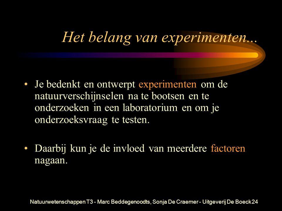 Natuurwetenschappen T3 - Marc Beddegenoodts, Sonja De Craemer - Uitgeverij De Boeck24 Het belang van experimenten... Je bedenkt en ontwerpt experiment