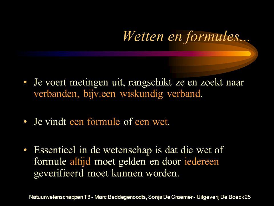 Natuurwetenschappen T3 - Marc Beddegenoodts, Sonja De Craemer - Uitgeverij De Boeck25 Wetten en formules... Je voert metingen uit, rangschikt ze en zo
