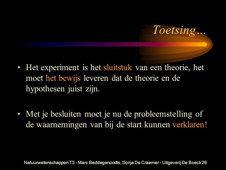 Natuurwetenschappen T3 - Marc Beddegenoodts, Sonja De Craemer - Uitgeverij De Boeck26 Toetsing… Het experiment is het sluitstuk van een theorie, het m
