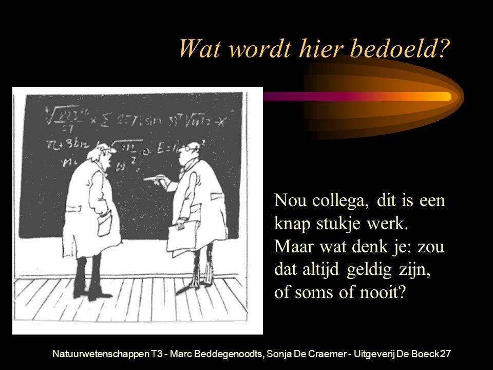 Natuurwetenschappen T3 - Marc Beddegenoodts, Sonja De Craemer - Uitgeverij De Boeck27 Wat wordt hier bedoeld? Nou collega, dit is een knap stukje werk