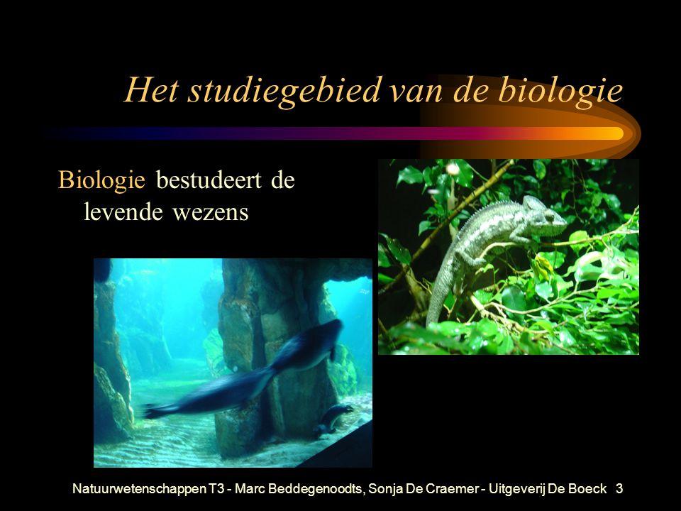 Natuurwetenschappen T3 - Marc Beddegenoodts, Sonja De Craemer - Uitgeverij De Boeck3 Het studiegebied van de biologie Biologie bestudeert de levende w