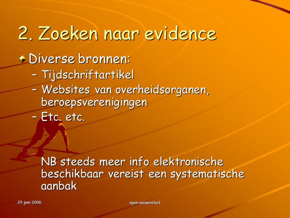 29 juni 2006 open universiteit 2. Zoeken naar evidence Diverse bronnen: –Tijdschriftartikel –Websites van overheidsorganen, beroepsverenigingen –Etc.