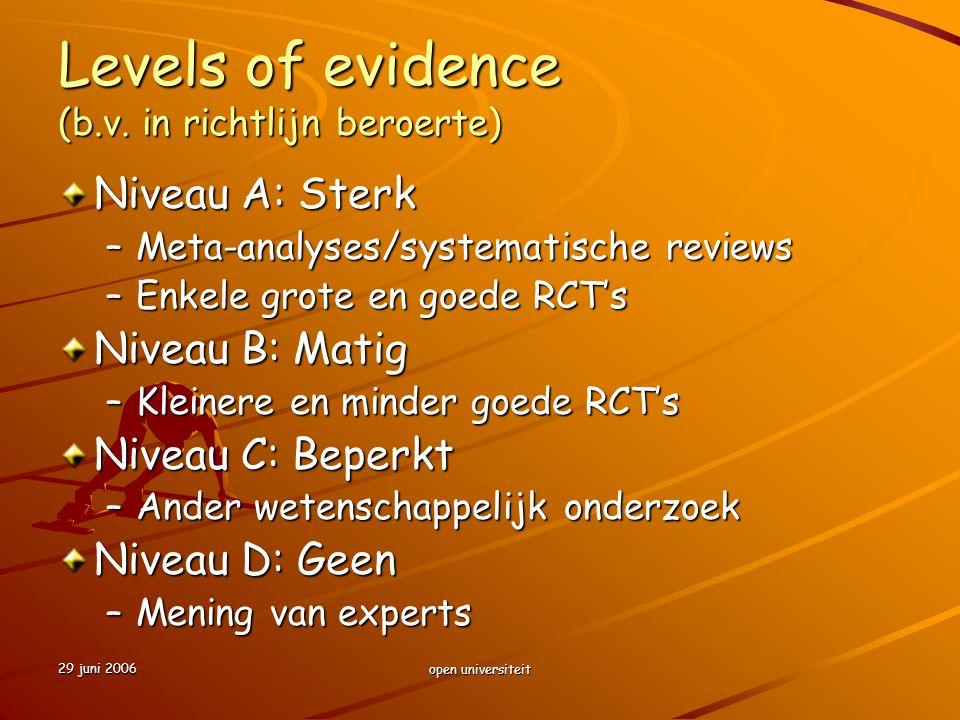 29 juni 2006 open universiteit Levels of evidence (b.v. in richtlijn beroerte) Niveau A: Sterk –Meta-analyses/systematische reviews –Enkele grote en g