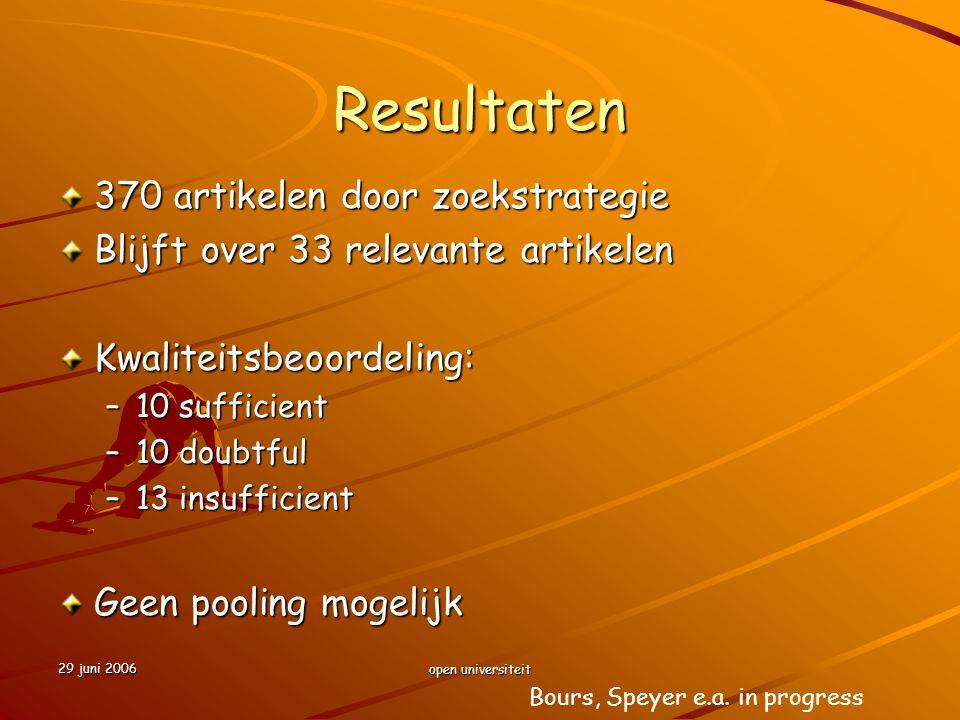29 juni 2006 open universiteit Resultaten 370 artikelen door zoekstrategie Blijft over 33 relevante artikelen Kwaliteitsbeoordeling: –10 sufficient –1