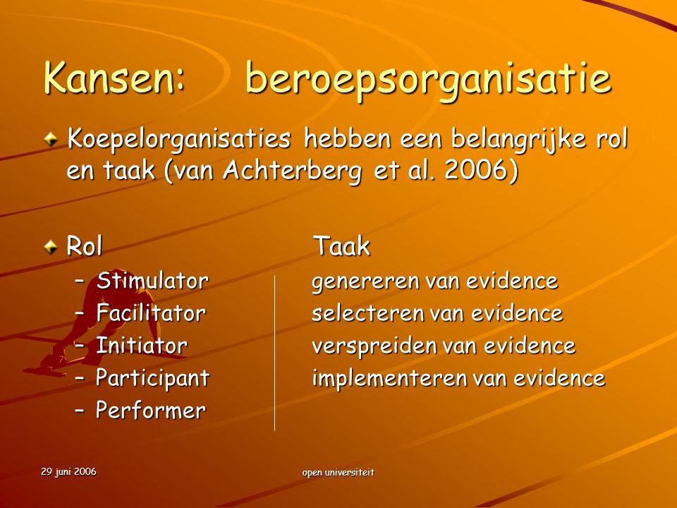 29 juni 2006 open universiteit Kansen:beroepsorganisatie Koepelorganisaties hebben een belangrijke rol en taak (van Achterberg et al. 2006) RolTaak –S