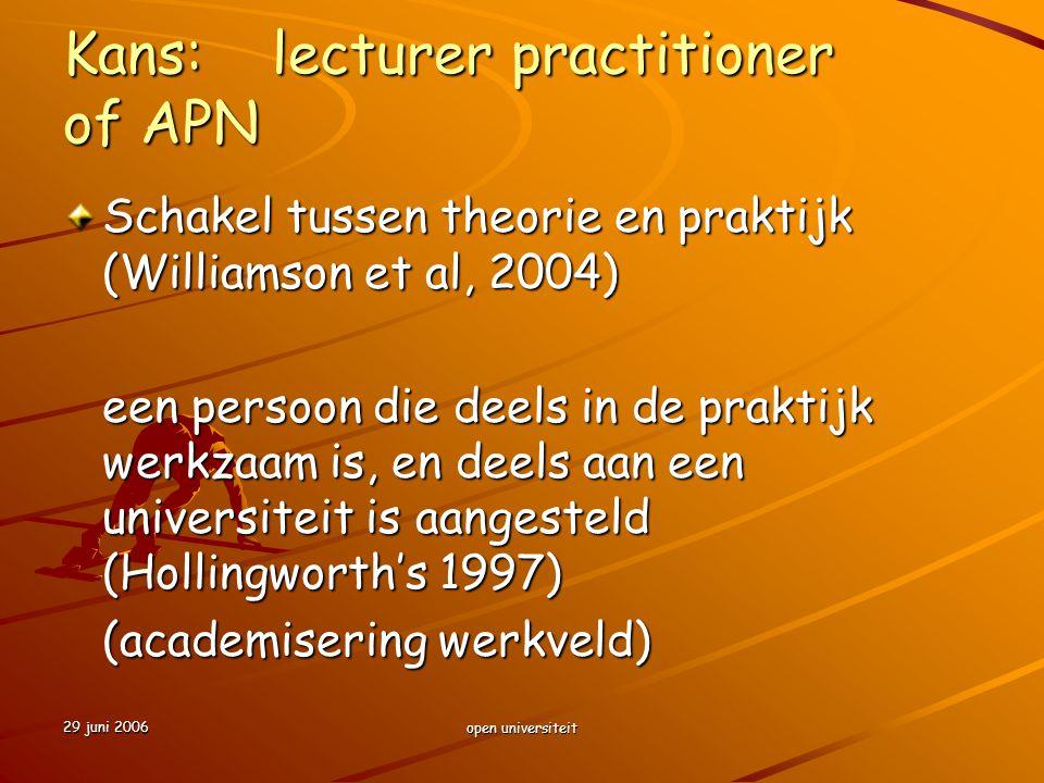 29 juni 2006 open universiteit Kans:lecturer practitioner of APN Schakel tussen theorie en praktijk (Williamson et al, 2004) een persoon die deels in