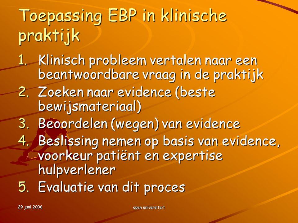 29 juni 2006 open universiteit Toepassing EBP in klinische praktijk 1.Klinisch probleem vertalen naar een beantwoordbare vraag in de praktijk 2.Zoeken