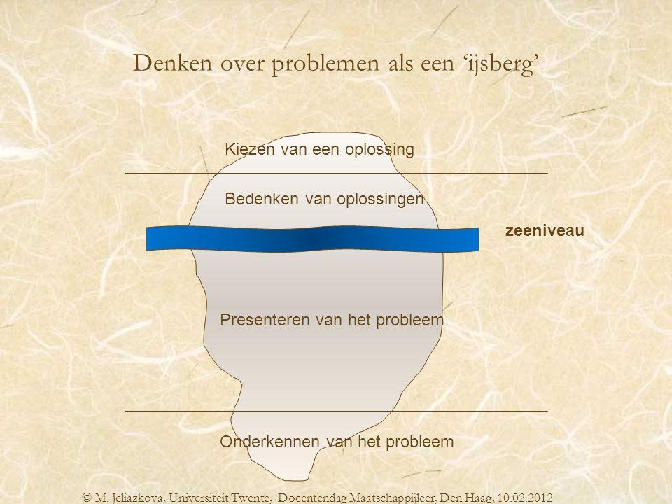 Kiezen van een oplossing Bedenken van oplossingen Presenteren van het probleem Onderkennen van het probleem zeeniveau Denken over problemen als een 'i