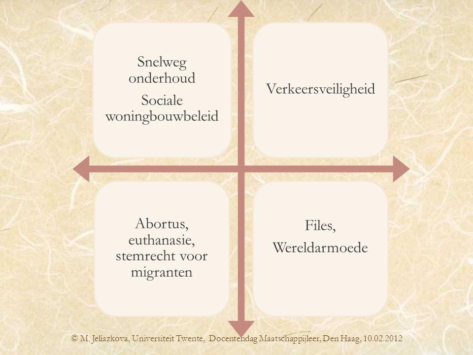 © M. Jeliazkova, Universiteit Twente, Docentendag Maatschappijleer, Den Haag, 10.02.2012 Snelweg onderhoud Sociale woningbouwbeleid Verkeersveiligheid