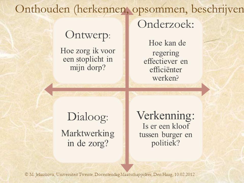 © M. Jeliazkova, Universiteit Twente. Docentendag Maatschappijleer, Den Haag, 10.02.2012 Ontwerp : Hoe zorg ik voor een stoplicht in mijn dorp? Onderz