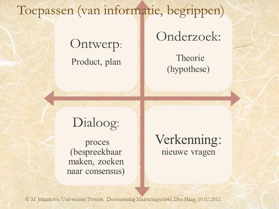 © M. Jeliazkova, Universiteit Twente, Docentendag Maatschappijleer, Den Haag, 10.02.2012 Ontwerp : Product, plan Onderzoek: Theorie (hypothese) Dialoo