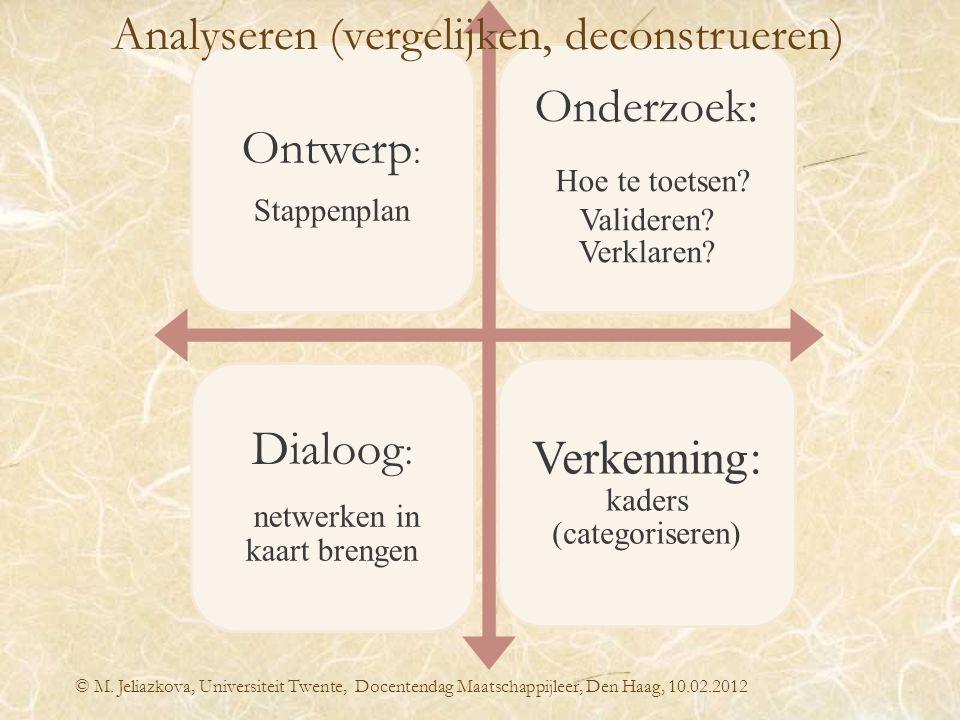 © M. Jeliazkova, Universiteit Twente, Docentendag Maatschappijleer, Den Haag, 10.02.2012 Ontwerp : Stappenplan Onderzoek: Hoe te toetsen? Valideren? V