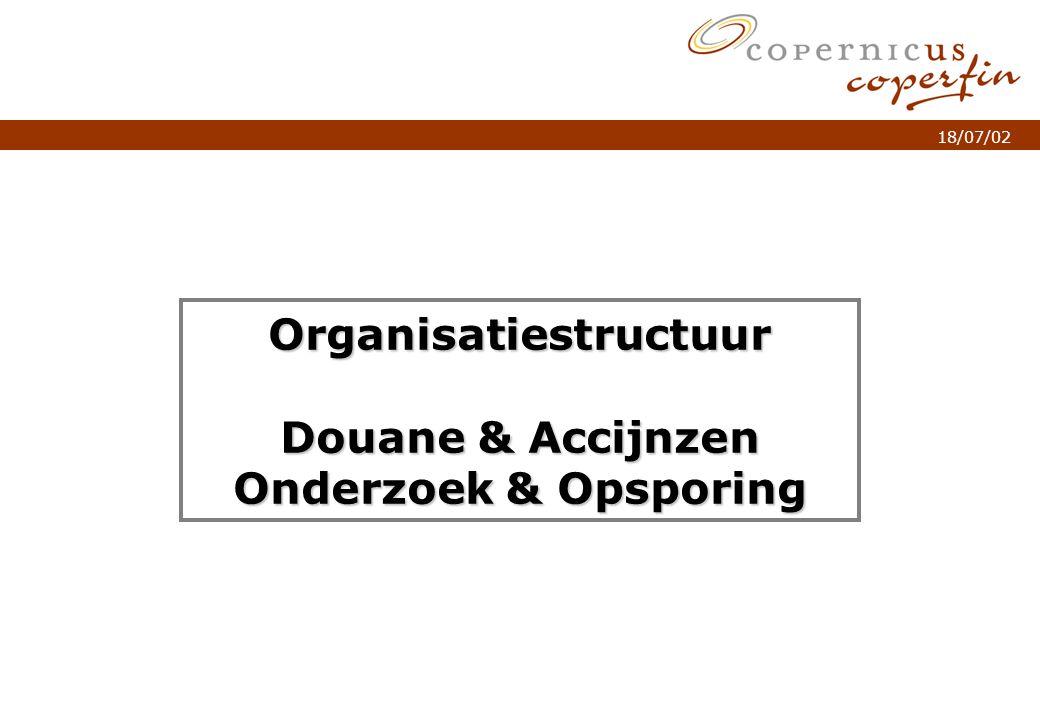 p. 1Titel van de presentatie 18/07/02 Organisatiestructuur Douane & Accijnzen Onderzoek & Opsporing