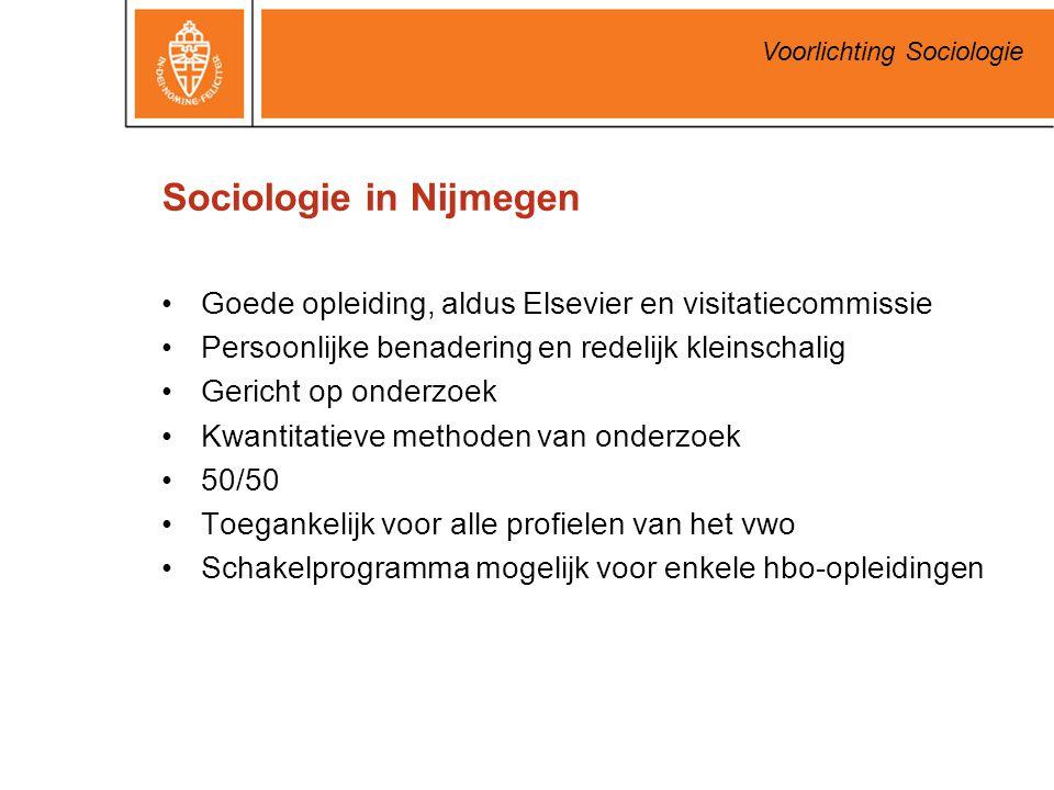 Voorlichting Sociologie Sociologie in Nijmegen Goede opleiding, aldus Elsevier en visitatiecommissie Persoonlijke benadering en redelijk kleinschalig