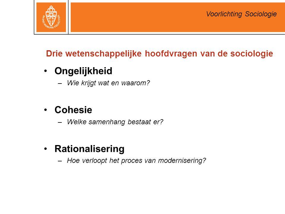 Voorlichting Sociologie Drie wetenschappelijke hoofdvragen van de sociologie Ongelijkheid –Wie krijgt wat en waarom? Cohesie –Welke samenhang bestaat