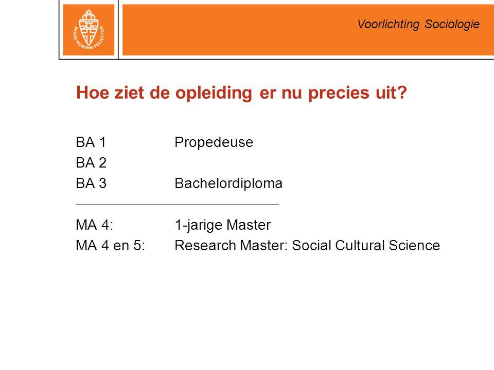 Voorlichting Sociologie Hoe ziet de opleiding er nu precies uit? BA 1Propedeuse BA 2 BA 3Bachelordiploma MA 4: 1-jarige Master MA 4 en 5: Research Mas