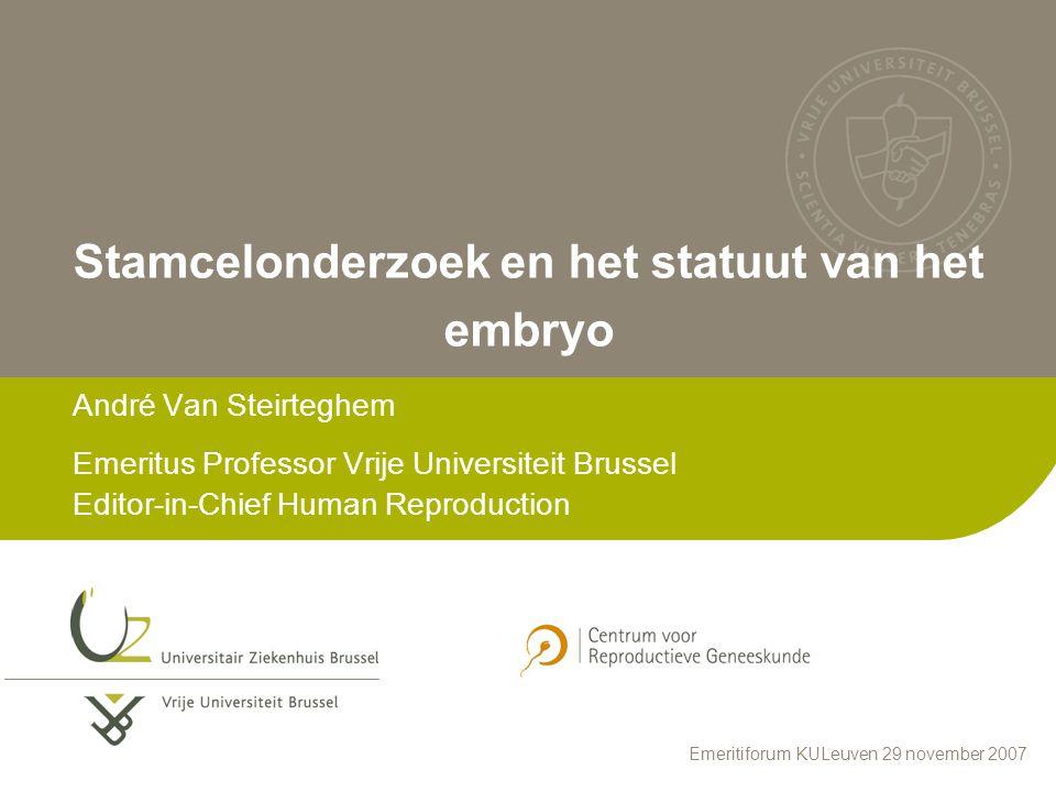 2 PLAN Inleiding Wettelijk kader in België Embryonale stamcellen aan VUB