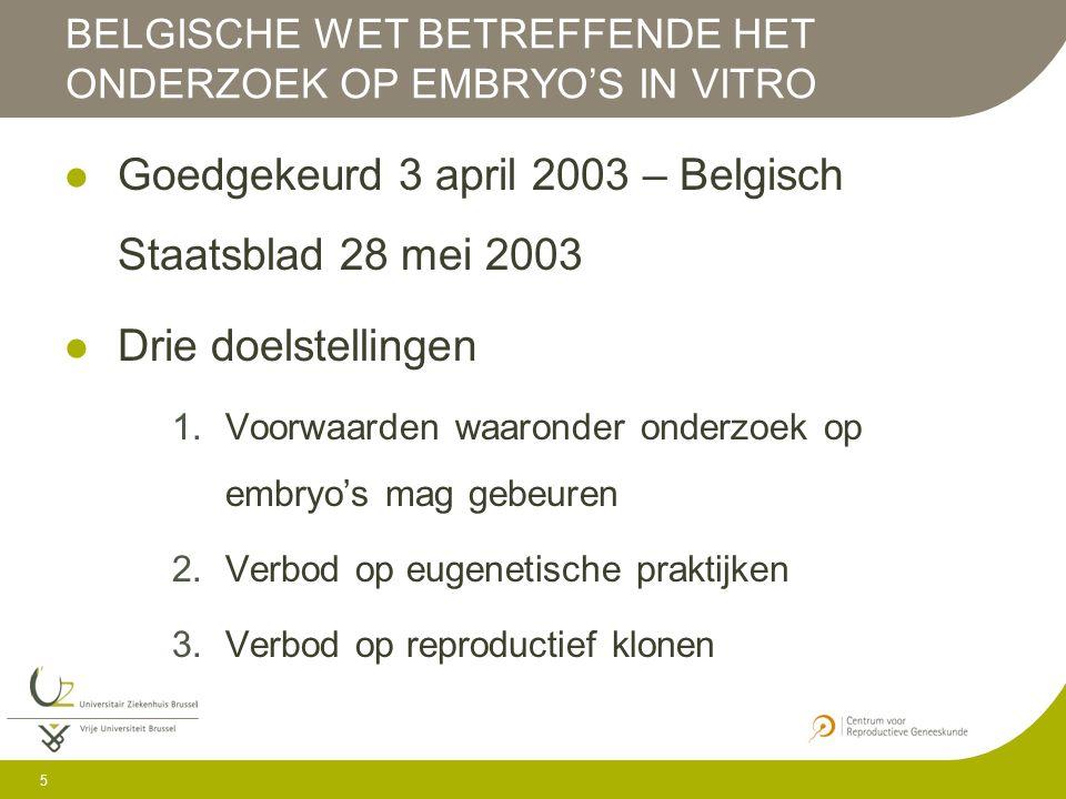 6 Basis van wetgeving (verklarende nota) 1.Belang van vrijheid van onderzoek 2.Aanvaarding van ethisch pluralisme in Belgische samenleving Wet bevat nauwelijks sancties en boetes voor overtredingen Door toezicht wordt getracht misbruiken te voorkomen en te corrigeren BELGISCHE WET BETREFFENDE HET ONDERZOEK OP EMBRYO' IN VITRO
