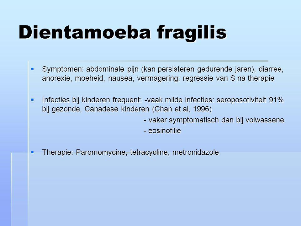 Dientamoeba fragilis  Symptomen: abdominale pijn (kan persisteren gedurende jaren), diarree, anorexie, moeheid, nausea, vermagering; regressie van S na therapie  Infecties bij kinderen frequent: -vaak milde infecties: seroposotiviteit 91% bij gezonde, Canadese kinderen (Chan et al, 1996) - vaker symptomatisch dan bij volwassene - vaker symptomatisch dan bij volwassene - eosinofilie - eosinofilie  Therapie: Paromomycine, tetracycline, metronidazole
