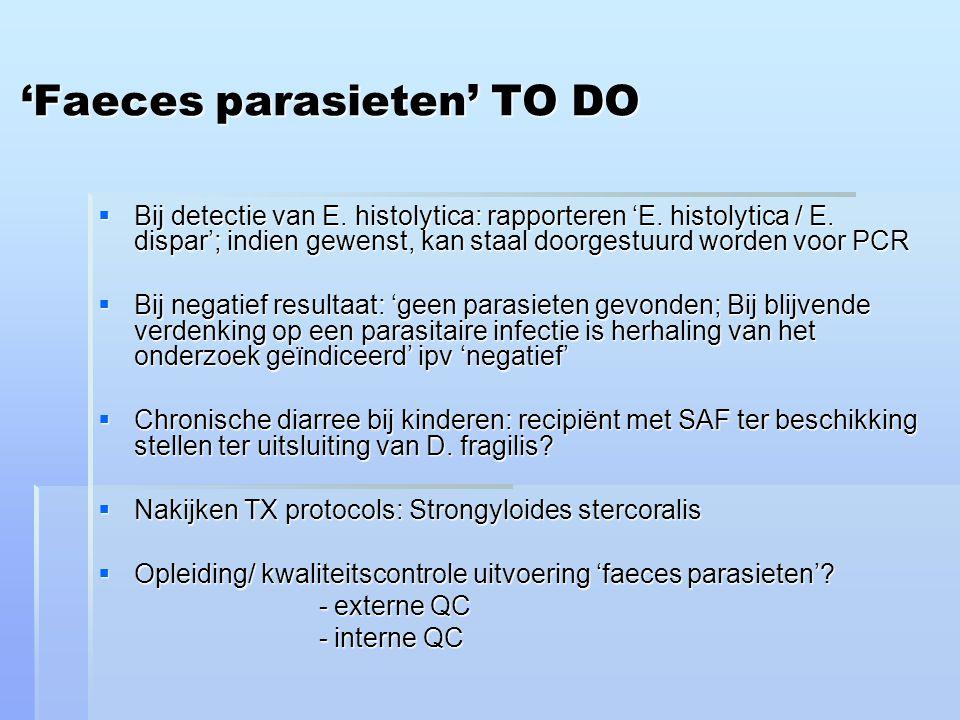 'Faeces parasieten' TO DO  Bij detectie van E.histolytica: rapporteren 'E.