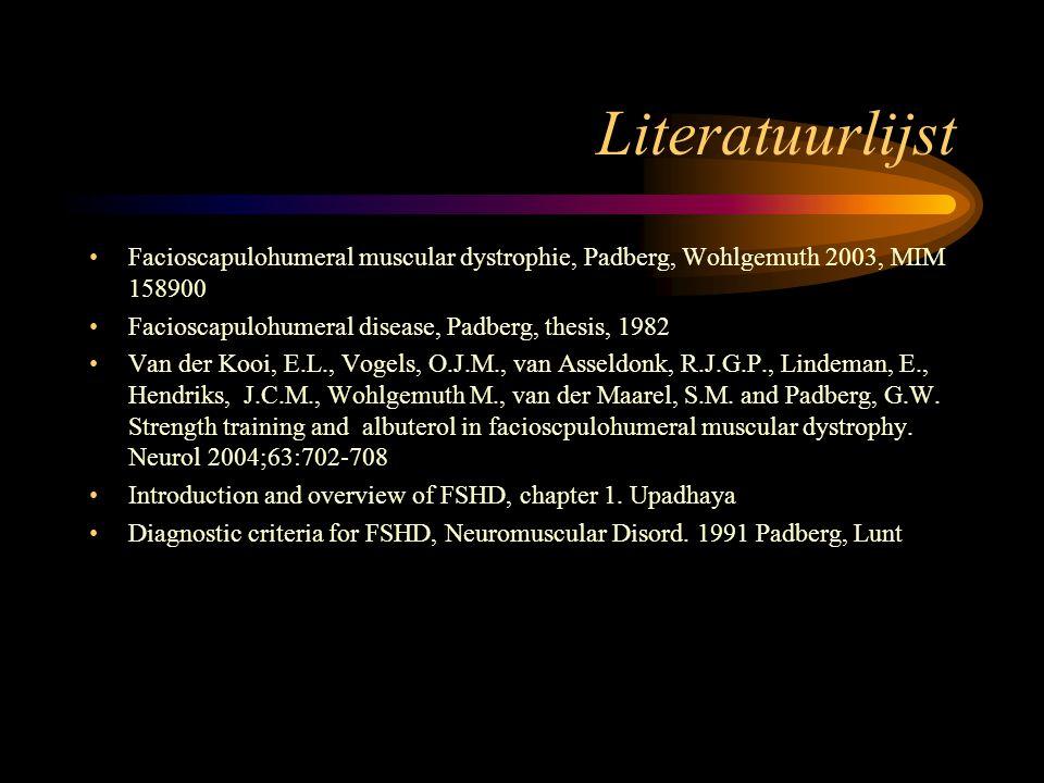 Literatuurlijst Facioscapulohumeral muscular dystrophie, Padberg, Wohlgemuth 2003, MIM 158900 Facioscapulohumeral disease, Padberg, thesis, 1982 Van d