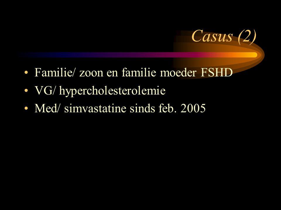 Casus (2) Familie/ zoon en familie moeder FSHD VG/ hypercholesterolemie Med/ simvastatine sinds feb. 2005