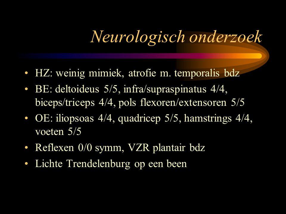 Aanvullend onderzoek CK: normaal of licht verhoogd EMG: milde myopatische veranderingen Spierbiopt: niet-specifieke chronische myopathische, dystrofische veranderingen DNA: 4q35--- kopieën van D4Z4 repeat Normaal 50-300 kb, FSHD < 35 kb