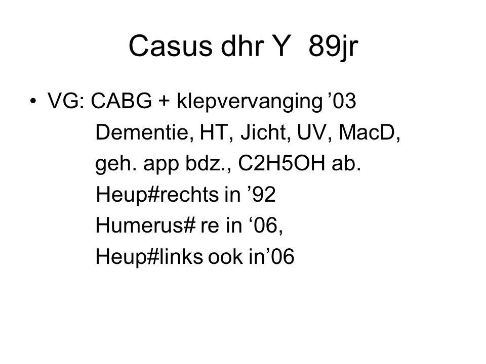 Casus dhr Y 89jr VG: CABG + klepvervanging '03 Dementie, HT, Jicht, UV, MacD, geh.