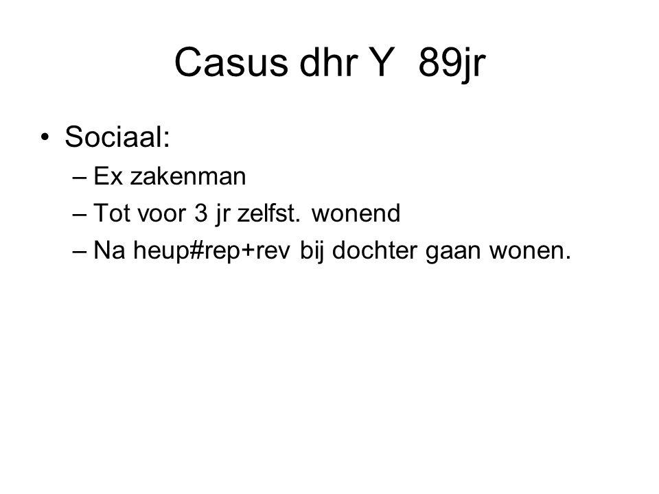 Casus dhr Y 89jr Sociaal: –Ex zakenman –Tot voor 3 jr zelfst.