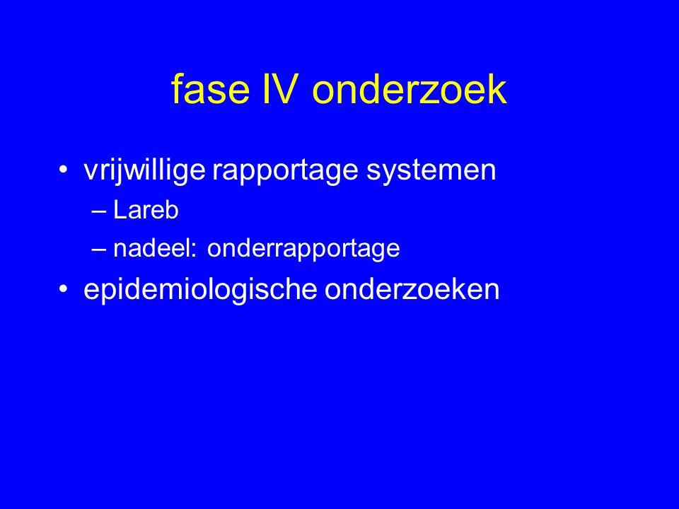 fase IV onderzoek vrijwillige rapportage systemen –Lareb –nadeel: onderrapportage epidemiologische onderzoeken