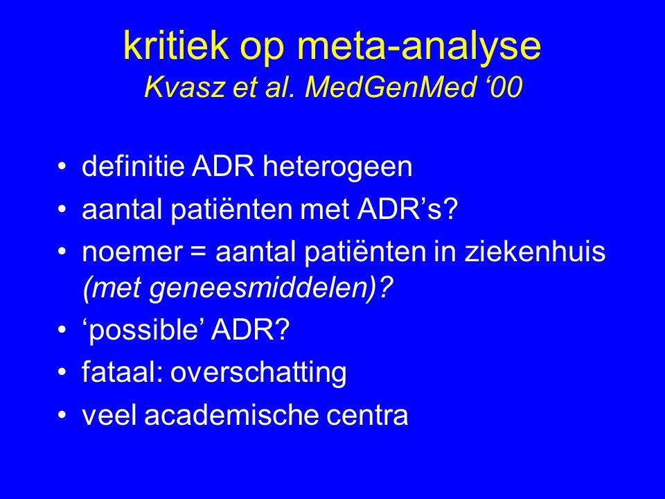 kritiek op meta-analyse Kvasz et al. MedGenMed '00 definitie ADR heterogeen aantal patiënten met ADR's? noemer = aantal patiënten in ziekenhuis (met g