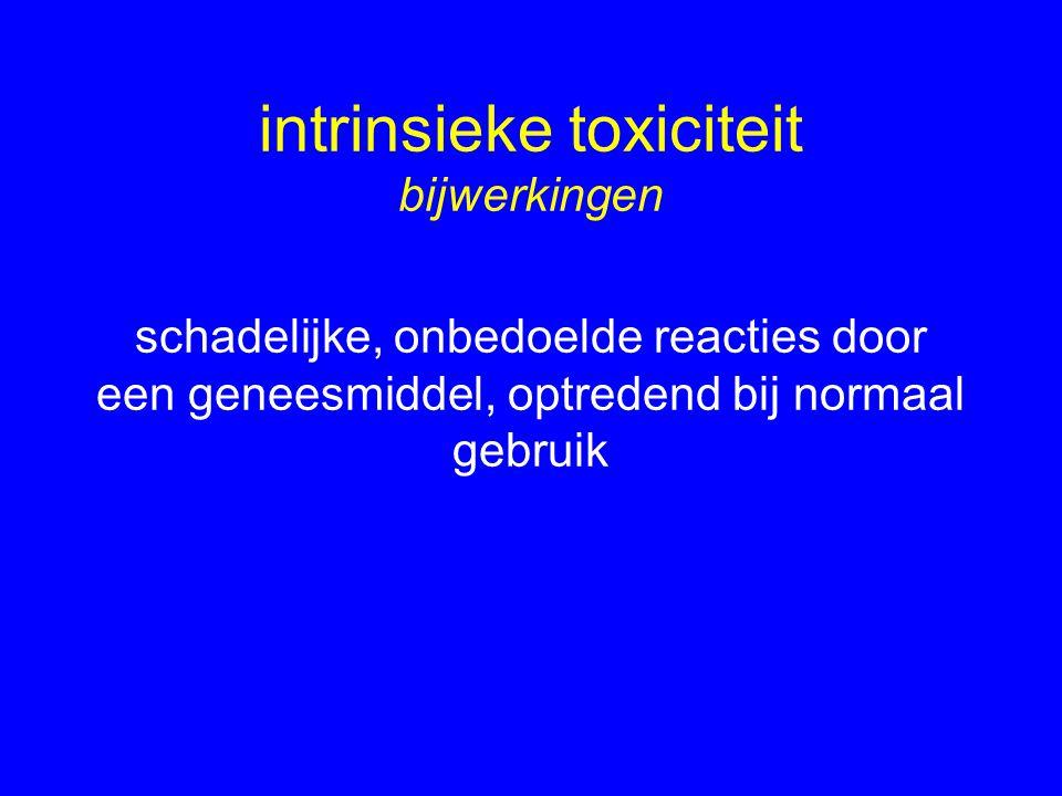 intrinsieke toxiciteit bijwerkingen schadelijke, onbedoelde reacties door een geneesmiddel, optredend bij normaal gebruik