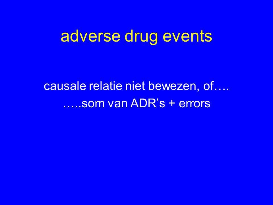 adverse drug events causale relatie niet bewezen, of…. …..som van ADR's + errors