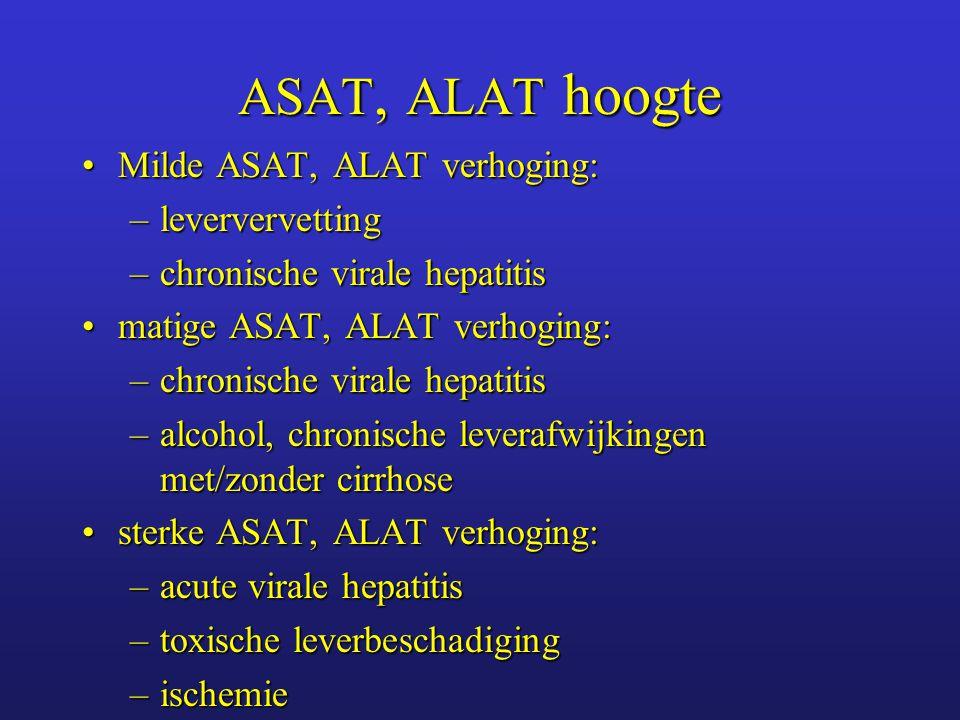 ASAT, ALAT hoogte ASAT, ALAT < 300ASAT, ALAT < 300 –alcohol –galwegafwijking ASAT, ALAT > 300ASAT, ALAT > 300 –hepatitis –geneesmiddelen ASAT, ALAT > 2000ASAT, ALAT > 2000 –ischemie