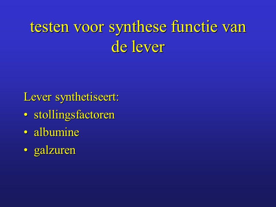 Stollingsfactoren lever synthetiseert alle stollingsfactoren behalve factor VIIIlever synthetiseert alle stollingsfactoren behalve factor VIII prothrombine tijd (Quick-tijd) test factoren I, II, V, VII, Xprothrombine tijd (Quick-tijd) test factoren I, II, V, VII, X vit K is noodzakelijk voor synthese factoren II, VII, IX, Xvit K is noodzakelijk voor synthese factoren II, VII, IX, X verlengde Quick-tijd:verlengde Quick-tijd: –te kort aan vit K –stollingswerende therapie –diffuse intravasale stolling (DIC) –leverziekten