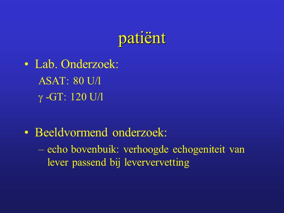 patiënt Advies: stoppen met alcohol, lab controle na 2 maanden.
