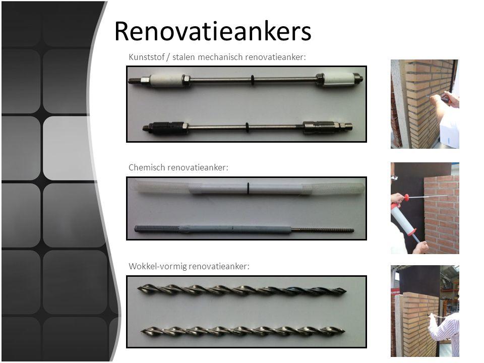 Renovatieankers Kunststof / stalen mechanisch renovatieanker: Chemisch renovatieanker: Wokkel-vormig renovatieanker: