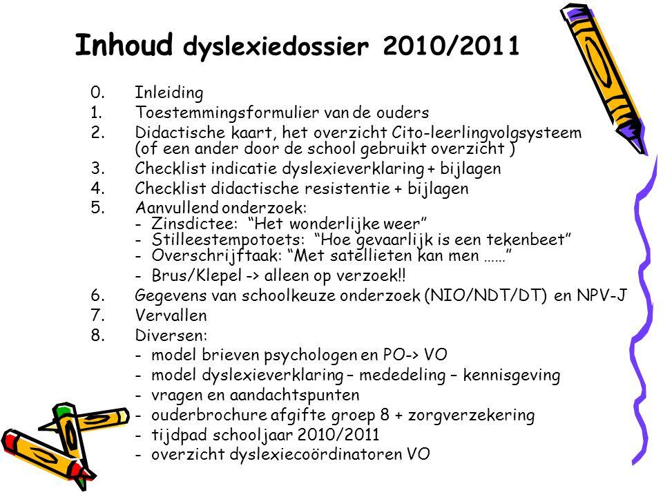 Inhoud dyslexiedossier 2010/2011 0.Inleiding 1.Toestemmingsformulier van de ouders 2.Didactische kaart, het overzicht Cito-leerlingvolgsysteem (of een