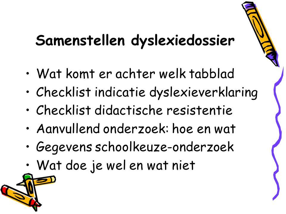 Samenstellen dyslexiedossier Wat komt er achter welk tabblad Checklist indicatie dyslexieverklaring Checklist didactische resistentie Aanvullend onder