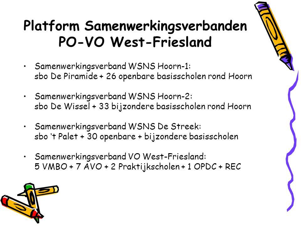Platform Samenwerkingsverbanden PO-VO West-Friesland Samenwerkingsverband WSNS Hoorn-1: sbo De Piramide + 26 openbare basisscholen rond Hoorn Samenwer