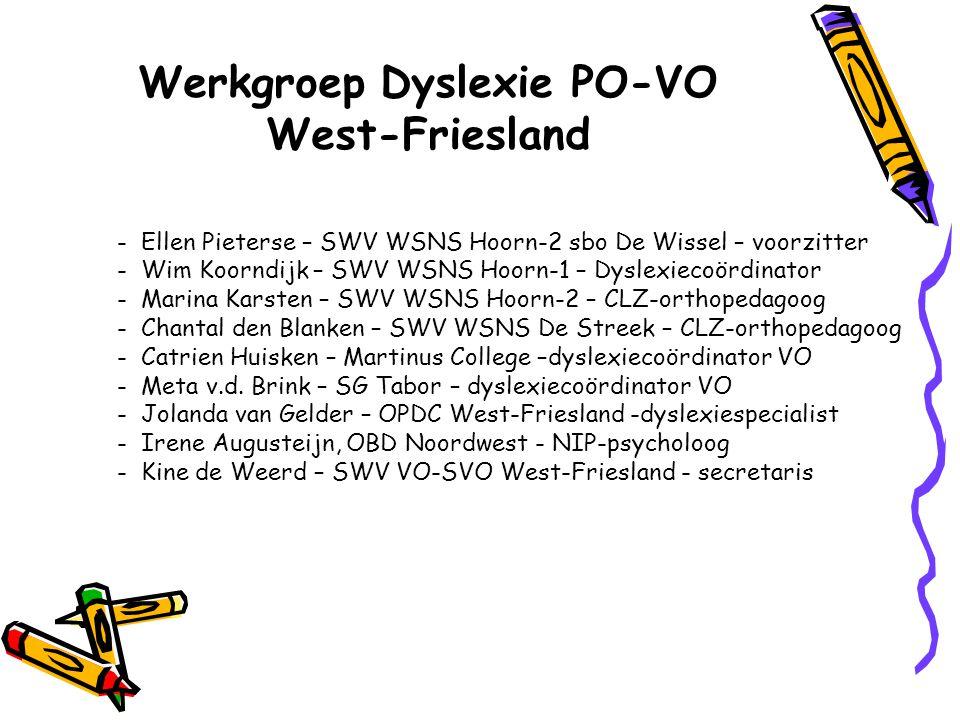 Dyslexieregeling West-Friesland Van leesdossier naar dyslexiedossier: 1 e Pilotjaar 2004/2005 met 28 leesdossiers 2 e Pilotjaar 2005/2006 met 57 leesdossiers 3 e Pilotjaar 2006/2007 met 135 leesdossiers Structurele regeling vanaf 2007/2008 2008/2009: 163 dyslexiedossiers 2009/2010: 155 dyslexiedossiers