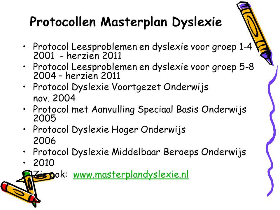 Protocollen Masterplan Dyslexie Protocol Leesproblemen en dyslexie voor groep 1-4 2001 - herzien 2011 Protocol Leesproblemen en dyslexie voor groep 5-