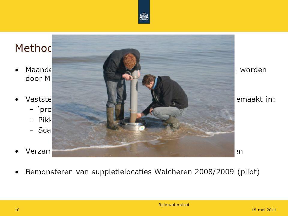 Rijkswaterstaat 1018 mei 2011 Methode Maandelijkse tellingen uitgevoerd de delen die niet gedekt worden door MWTL-tellingen Vaststellen van foerageer gedrag waarbij onderscheid is gemaakt in: –'proben' (diep in 't zand) –Pikken (van het substraat) –Scavenging (aangespoelde dood voedsel) Verzamelen van poepmonsters om voedselkeuze te bepalen Bemonsteren van suppletielocaties Walcheren 2008/2009 (pilot)