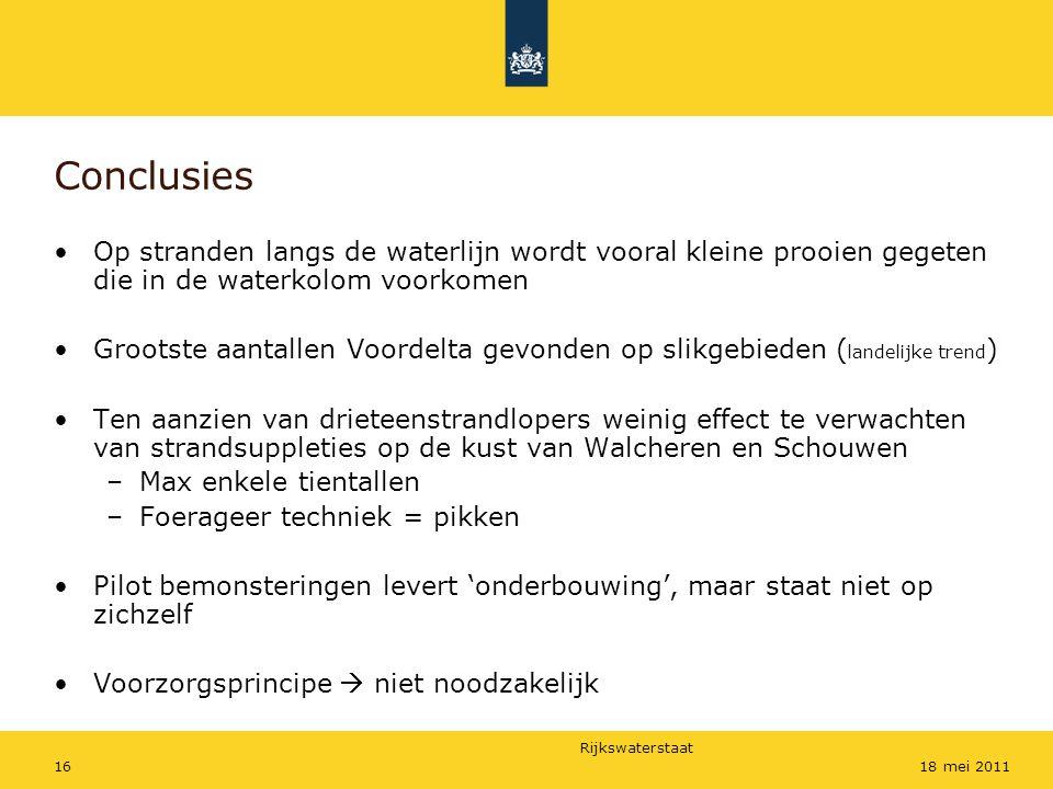 Rijkswaterstaat 1618 mei 2011 Conclusies Op stranden langs de waterlijn wordt vooral kleine prooien gegeten die in de waterkolom voorkomen Grootste aa