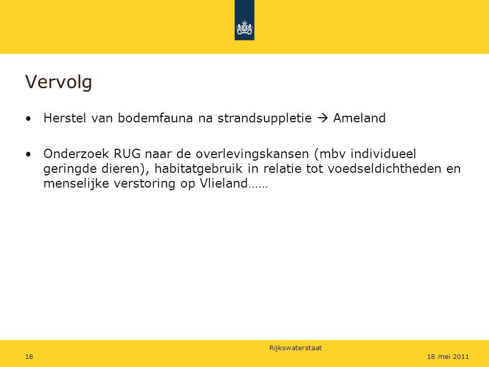 Rijkswaterstaat 1818 mei 2011 Vervolg Herstel van bodemfauna na strandsuppletie  Ameland Onderzoek RUG naar de overlevingskansen (mbv individueel ger